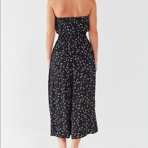 urban outfitters strapless wide leg midi jumpsuit